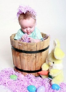 Little Girl in a Woden Bucket
